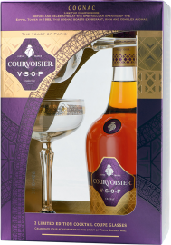 Courvoisier VSOP Cognac + 2 Champagner-Schalen