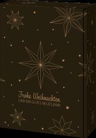 Geschenkkarton Weihnachtsstern Schwarz für 3 Flaschen 0,75 l